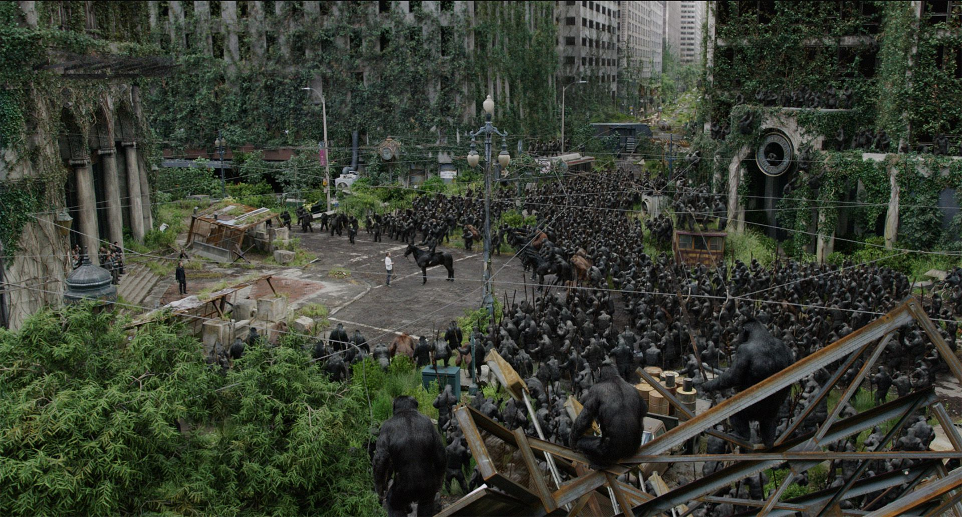 "Figure 1 - In Dawn of the Planet of the Apes, when the apes ride into San Francisco and tell the humans to stay out of the forest in the ""show of strength"" scene, the vast number of apes - each with complex hair that would have taxed any renderer - were rendered in Weta Digital ManukaSource: https://www.fxguide.com/featured/manuka-weta-digitals-new-renderer/"